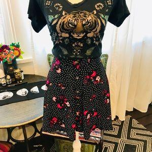 Express black floral skirt size M